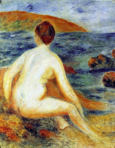 Pierre Auguste Renoir Nude Bather Seated by the Sea - Hand Painted Oil Painting