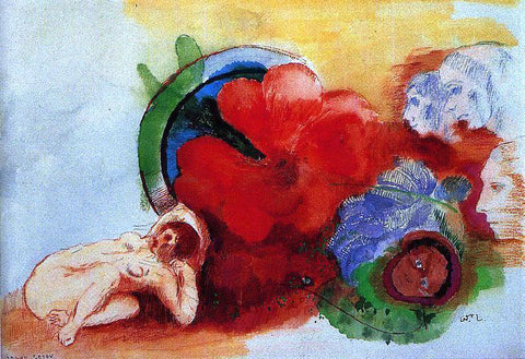 Odilon Redon Nude, Begonia and Heads - Hand Painted Oil Painting