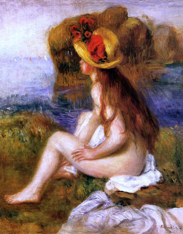 Pierre Auguste Renoir Nude in a Straw Hat - Hand Painted Oil Painting