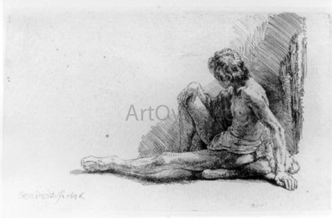 Rembrandt Van Rijn The Nude Man Seated on the Ground with One Leg Extended - Hand Painted Oil Painting