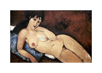 Amedeo Modigliani Nude on a Blue Cushion - Hand Painted Oil Painting