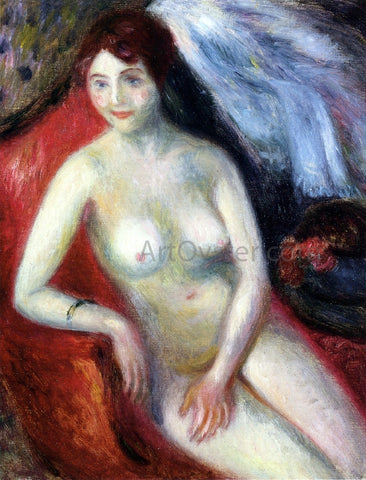 William James Glackens Nude on a Red Sofa - Hand Painted Oil Painting