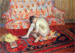 Henri Lebasque Nude on Red Carpet - Hand Painted Oil Painting