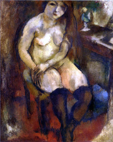 Jules Pascin Nude with Black Stockings - Hand Painted Oil Painting