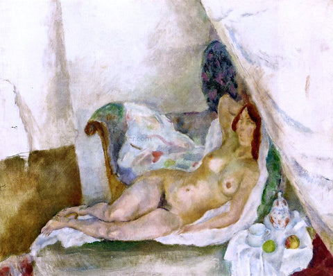 Jules Pascin Nude with Drapery - Hand Painted Oil Painting