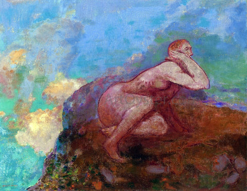 Odilon Redon Nude Woman on the Rocks - Hand Painted Oil Painting