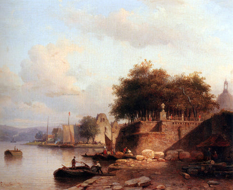 Everhardus Koster Numerous Townsfolk On A Quay Of A Town Along The Rhine - Hand Painted Oil Painting