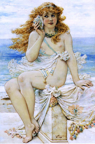 William Stephen Coleman Nymph with Conch Shell - Hand Painted Oil Painting