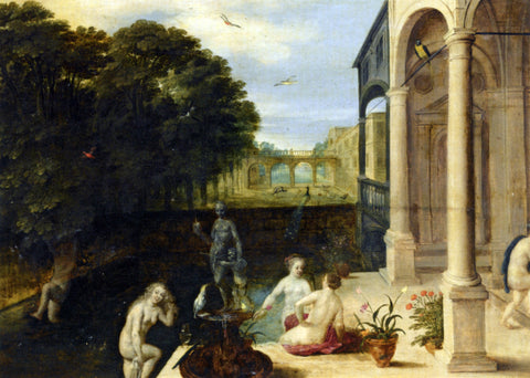 Adriaan Van Stalbemt Nymphs Bathing in a Classical Garden Setting - Hand Painted Oil Painting