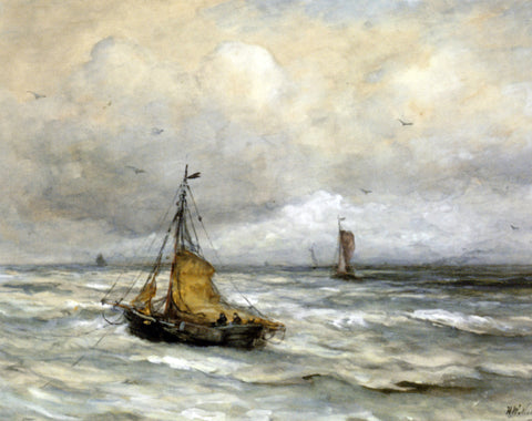 Hendrik Willem Mesdag Off The Coast - Hand Painted Oil Painting