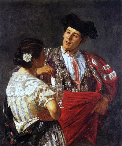 Mary Cassatt Offering the Panel to the Bullfighter - Hand Painted Oil Painting