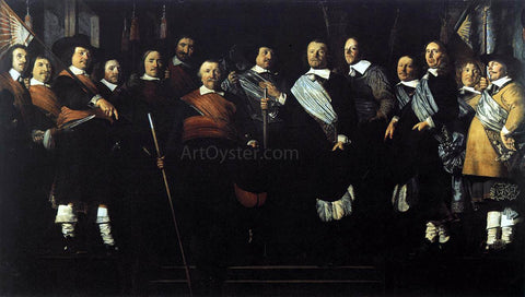 Caesar Van Everdingen Officers and Standard-Bearers of the Old Civic Guard - Hand Painted Oil Painting