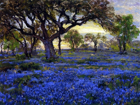 Julian Onderdonk Old Live Oak Tree and Bluebonnets on the West Texas Military Grounds, San Antonio - Hand Painted Oil Painting