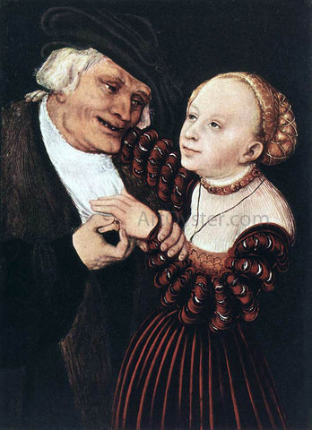 The Elder Lucas Cranach Old Man and Young Woman - Hand Painted Oil Painting