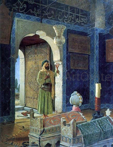 Osman Hamdy-Bey Old Man before Children's Tombs - Hand Painted Oil Painting
