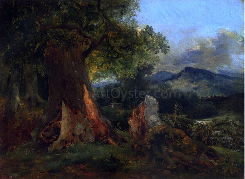 Theodore Rousseau Old Oak Tree and Rotting Trunk - Hand Painted Oil Painting