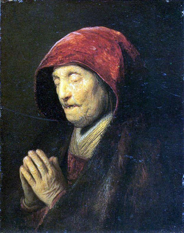 Rembrandt Van Rijn Old Woman in Prayer - Hand Painted Oil Painting