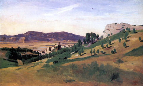 Jean-Baptiste-Camille Corot Olevano, the Town and the Rocks - Hand Painted Oil Painting