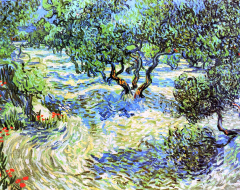 Vincent Van Gogh Olive Grove: Bright Blue Sky - Hand Painted Oil Painting