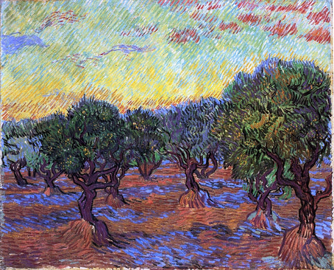 Vincent Van Gogh Olive Grove: Orange Sky - Hand Painted Oil Painting
