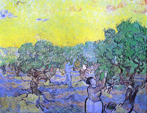 Vincent Van Gogh Olive Grove with Picking Figures - Hand Painted Oil Painting