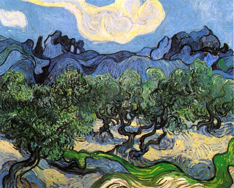 Vincent Van Gogh Olive Trees with the Alpilles in the Background - Hand Painted Oil Painting