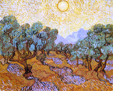 Vincent Van Gogh Olive Trees with Yellow Sky and Sun - Hand Painted Oil Painting