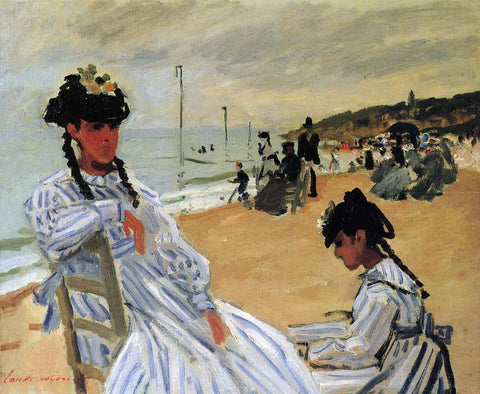 Claude Oscar Monet On the Beach at Trouville - Hand Painted Oil Painting