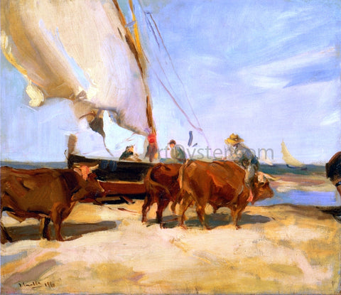 Joaquin Sorolla Y Bastida On the Beach at Valencia - Hand Painted Oil Painting