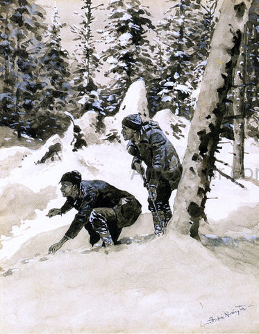 Frederic Remington On the Caribou Tracks - Hand Painted Oil Painting