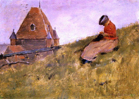Theodore Robinson On the Cliff: A Girl Sewing - Hand Painted Oil Painting