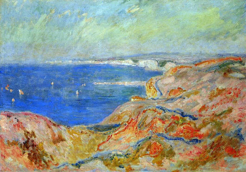 Claude Oscar Monet On the Cliff near Dieppe - Hand Painted Oil Painting