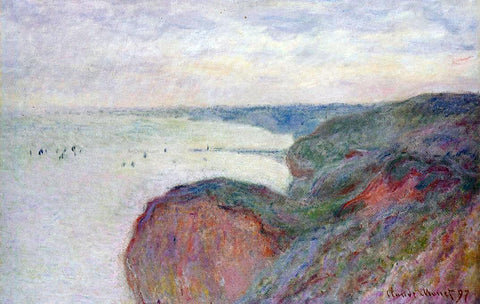 Claude Oscar Monet On the Cliff near Dieppe, Overcast Skies - Hand Painted Oil Painting