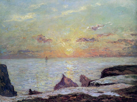 Maxime Maufra On the Cliffs of Belle Isle on Mer, Sunset - Hand Painted Oil Painting
