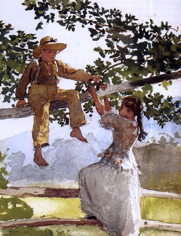 Winslow Homer On the Fence (also known as On the Farm) - Hand Painted Oil Painting