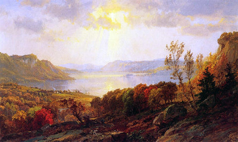 Jasper Francis Cropsey On the Hudson near West Point - Hand Painted Oil Painting