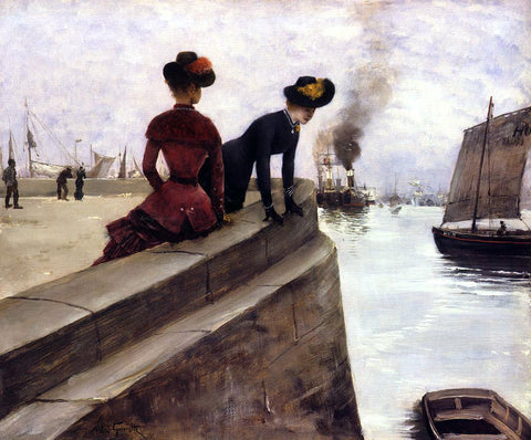 Norbert Goeneutte On the Jetty; Le Havre - Hand Painted Oil Painting