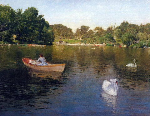 William Merritt Chase On the Lake, Central Park - Hand Painted Oil Painting