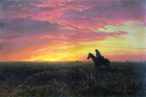 Albert Bierstadt On the Plains, Sunset - Hand Painted Oil Painting
