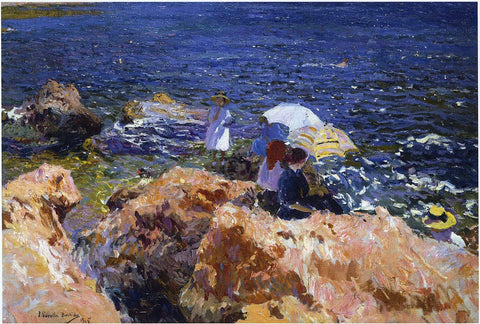 Joaquin Sorolla Y Bastida On the Rocks at Javea - Hand Painted Oil Painting