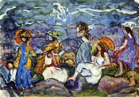 Maurice Prendergast On the Rocks, North Shore - Hand Painted Oil Painting