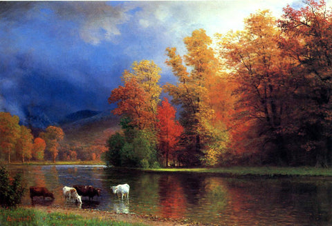 Albert Bierstadt On the Saco - Hand Painted Oil Painting