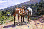 Theodore Robinson On the Tow-Path - A Halt - Hand Painted Oil Painting