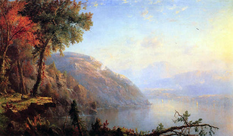 Marie-Francois-Regis Gignoux On the Upper Hudson - Hand Painted Oil Painting
