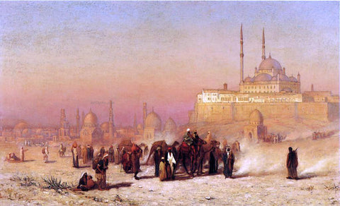 Louis Comfort Tiffany On the Way between Old and New Cairo, Citadel Mosque of Mohammed Ali, and Tombs of the Mamelukes - Hand Painted Oil Painting