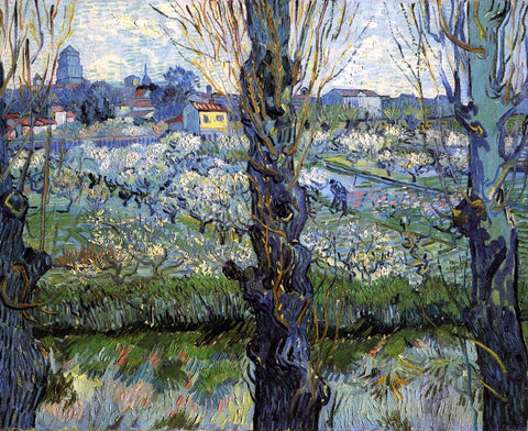 Vincent Van Gogh Orchard in Bloom with Poplars - Hand Painted Oil Painting