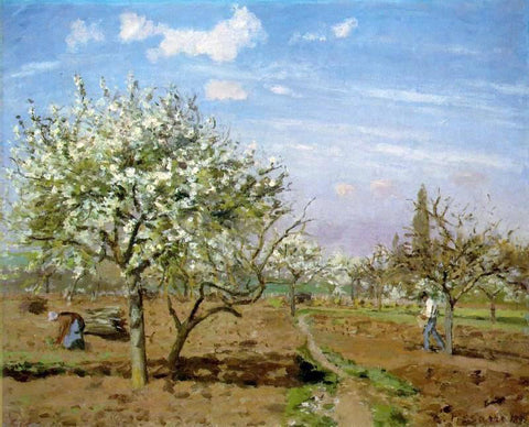 Camille Pissarro Orchard in Blossom, Louveciennes - Hand Painted Oil Painting