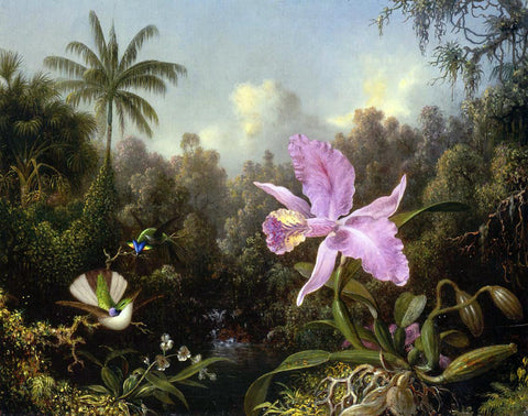 Martin Johnson Heade Orchid and Two Hummingburds - Hand Painted Oil Painting