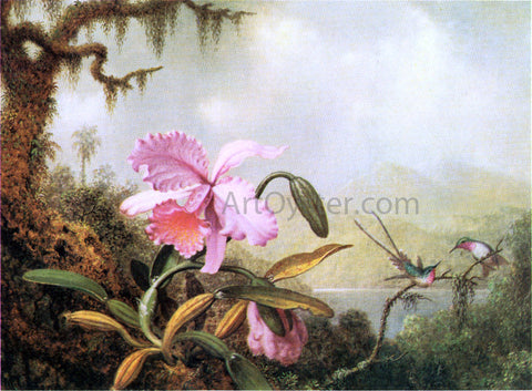 Martin Johnson Heade Orchids and Hummingbirds near a Mountain Lake - Hand Painted Oil Painting