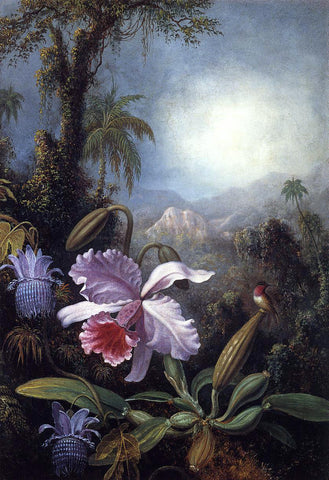 Martin Johnson Heade Orchids, Passion Flowers and Hummingbird - Hand Painted Oil Painting